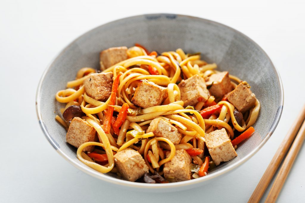 tofu noodle dish with fresh chillies