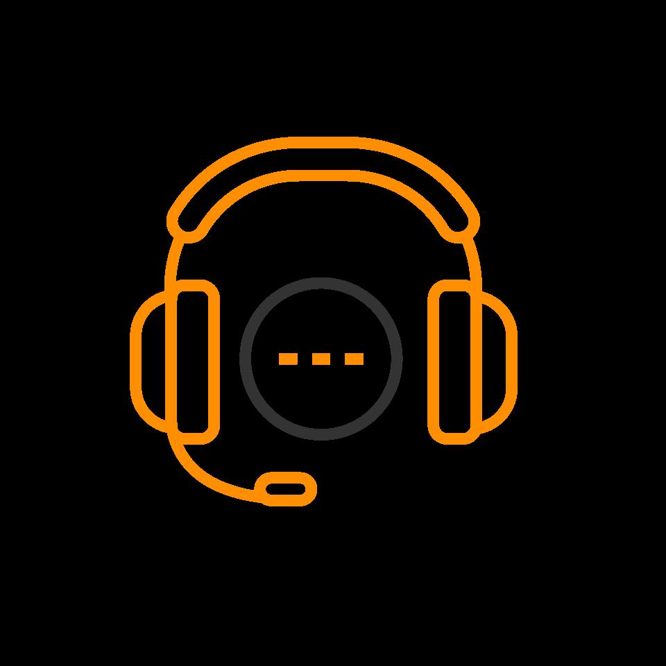 orange and black headphone icon