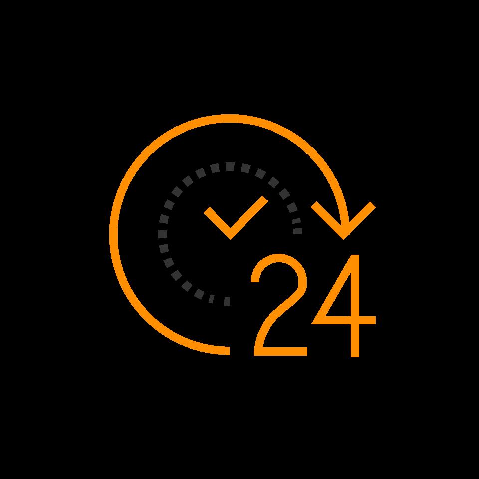 orange and black 24 hour icons