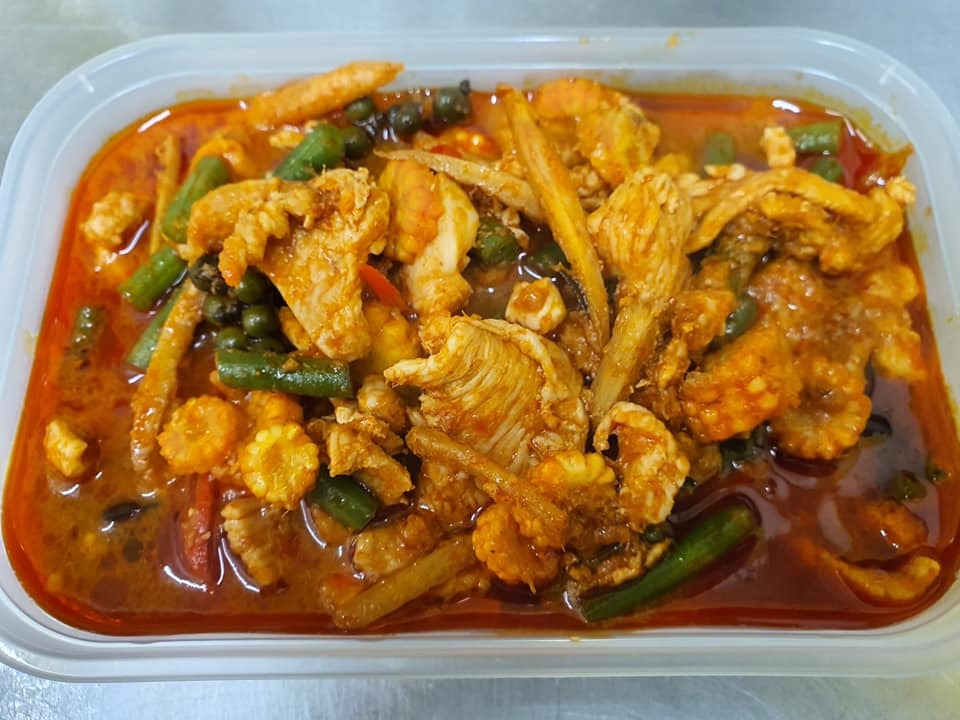 hot and spicy jungle curry with veg thai style and chillies